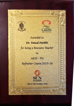 Awarded for Being a Resource Teacher in AIOS-PG Refresher Course 2015