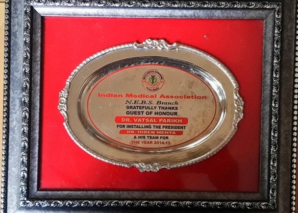 Indian Medical Association Guest of Honour for Installing the president 2014
