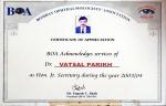 BOA certificate of Appreciation